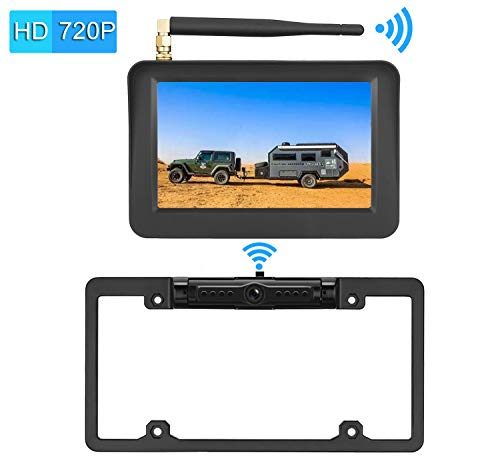 iStrong HD 720P Digital Wireless Backup Camera System Kit For Pickups,Trucks,Motorhomes,Campers,RVs  5'' Monitor Rear/Front View Reverse/Continuous Use High-Speed Observation System Guide Lines ON/OFF