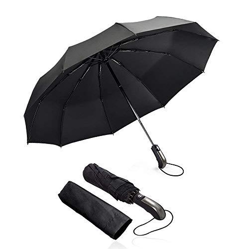 Windproof Travel Auto Umbrella - Mixigoo Best 10 Ribs Compact Folding Umbrella for Women Men with Ergonomic Handle, ()