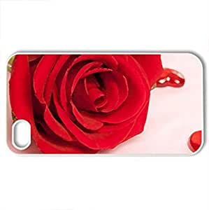 Red RoCase For Iphone 4/4S Cover (Flowers Series, Watercolor style, White)