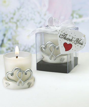 Interlocking silver heart design candleholders [SET OF 12] -