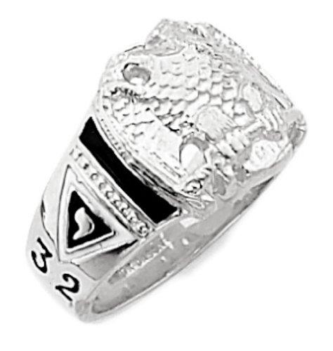 Mens 14k White Gold Masonic Scottish Rite Open Back Ring (Size 13) Mens Open Back Masonic Ring