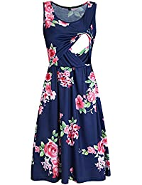 d2db444224000 Womens Sleeveless Summer Floral Maternity Dresses Nursing Breastfeeding  Clothes
