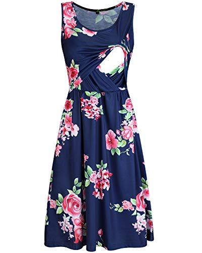 OUGES Womens Sleeveless Summer Floral Maternity Dresses Nursing Breastfeeding Clothes(Floral03,XL)