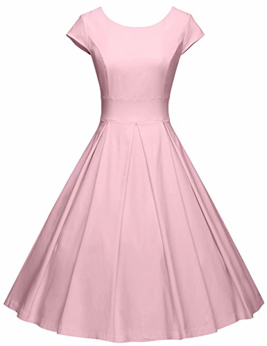 GownTown Women's 1950s Vintage Dresses Cap Sleeves Cocktail Stretchy Dresses with Pocket ()