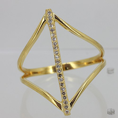 Solid 18k Yellow Gold Handmade Natural 0.15 Ct Diamond Pave Long Bar Ring (0.15 Ct Natural Diamond)