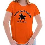 Brisco Brands Camp Half Blood Greek Mythology Movie Gym Ladies T Shirt Orange