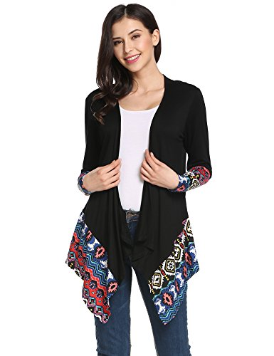 Meaneor Womens Casual Knit Cape Cloak Cardigan Jacket (Black XX-Large)
