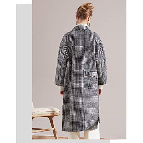 A mano oto Cashmere cosida o mujer negro de lana invierno W e Plaid Coat ropa para largo rojo a r6rqw