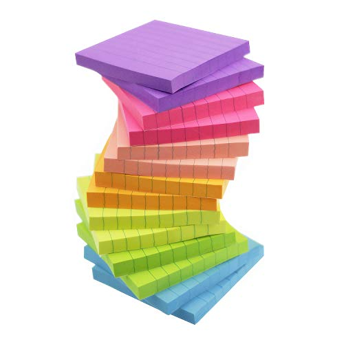 Sticky Notes with Lines Lined Sticky Notes 3x3 Bright Multi Colors 14 Pads 80 Sheet/Pad (14)