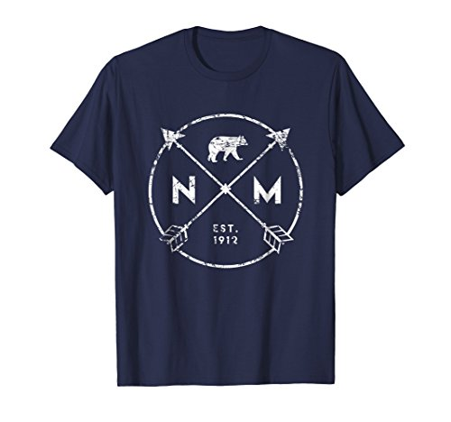Mens New Mexico Adventure Shirt, Est 1912 Horse Arrows State Gift Large Navy (Blue Shirt Horse New)