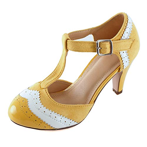 Guilty Heart - Womens Retro T-Strap Teardrop Cutout Mid Heel Sandal - Comfortable Pump with Ankle Strap (10 M US, YellowWhite)