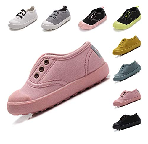 (Kikiz Candy Color Kids Little Canvas Sneaker Boys Girls Casual Shoes Pink 13 M US Little Kid)