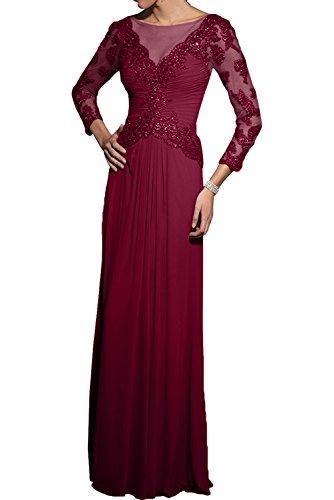 2018 Spitze Langarm Braut Fuer Burgundy Abendkleider La mia Chiffon Hochzeits Lang Brautmutterkleider Formalkleider UqEnwStC