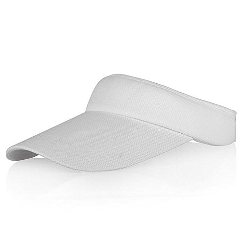 Baseball Golf Visor - Veatree White Sun Visors for Women and Men, Long Brim Thicker Sweatband Adjustable Velcro Hats Caps for Cycling Fishing Tennis Running Jogging and other Sports