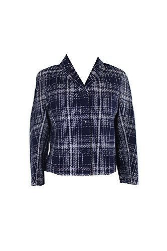Tommy Hilfiger Navy Ivory Three-Button Cropped Plaid ()