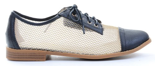Mesh Lace Leather Vegan Up Clear Oxford Flat Peach Shoes Funky Fourever Loafers RqUfqAXga