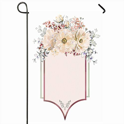 (Ahawoso Garden Flag 12x18 Inches Florist Pink Watercolor Roses Nature Vintage Realism Botanical Botany Bouquet Collage Cute Design Outdoor Decorative Seasonal Double Sided Home House Yard Sign)