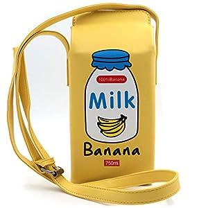QiMing Chocolate Milk Box CrossBody Purse Bag,PU Phone Shoulder Wallet for Women Girl