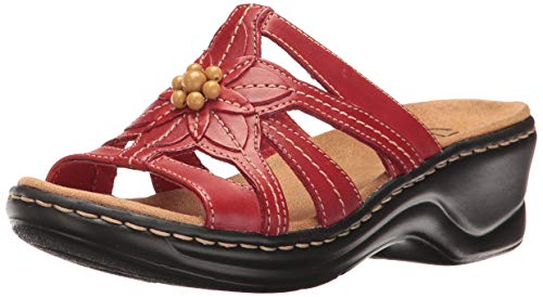CLARKS Women's Lexi Myrtle, Red Leather, 8.5 EE-Extra Wide