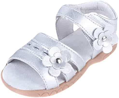 8eb8b1c721f9 ONCEFIRST Toddler Girl s Flower Open Toe Straps Sandals Summer Flat  Princess Shoes