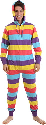Funzee Adult Onesie Non Footed Pajama Red Yellow Purple Stripe XS-XXL (Size on Height) (Petite-XS) -