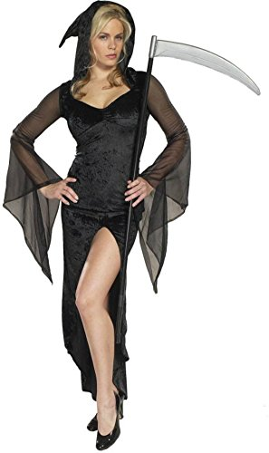 Cinema Secrets Womens Sexy Grim Reaper Hooded Dress Slit Theme Halloween Costume, Large (Lady Grim Reaper Plus Size Womens Costumes)