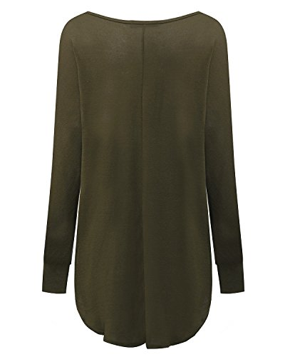 ZANZEA Mujer Suéter Jersey Blusa Camiseta Asimétrica Mangas Largas Casual Elegante Oficina Algodón Verde Militar