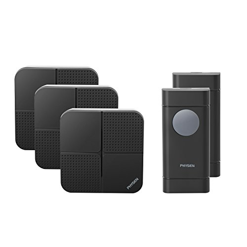 Double Chime - Physen Model X5 Waterproof Wireless Doorbells with 2 Push Button and 3 Plugin Receiver,Operating Range at 900 Feet,4 Adjustable Volume Levels and 52 Chimes,No Battery Required for Receiver,Black