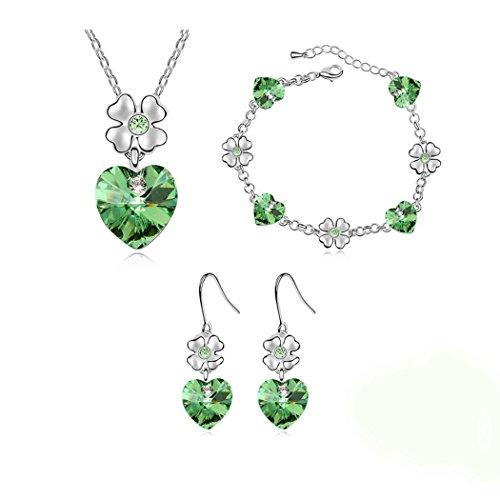 Heart Flower Pendant Necklace Bracelet Earrings Set Women Girl Silver Tone - Green Crystal Jewelry