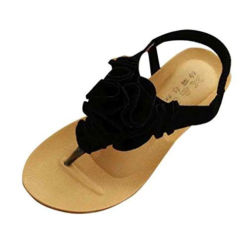 LANDFOX Mujeres Flor Verano Bohemia Sandalias Sweet Clip Toe Sandalias Zapatos de playa Negro