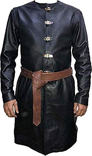 Mens Stylish Games Leather Coat Jacket | Mens Long Leather Coat (M) Black (Best Of Jaime Lannister)