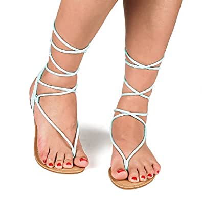 DREAM PAIRS Women's DARRE Mint Tie Up Gladiator Flat Sandals Flat Sandals - 5.5 M US