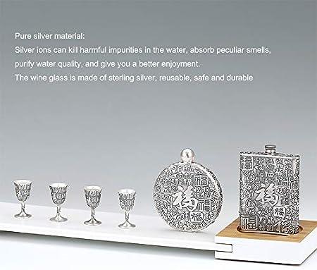 XXSC-ZC Copa de Vino de Plata esterlina, Vidrio de Whisky de Jerez de Licor, Frasco de Cadera de Gran Capacidad y fácil Transporte, Adecuado para recolectar Regalos a Domicilio,Wine Glass