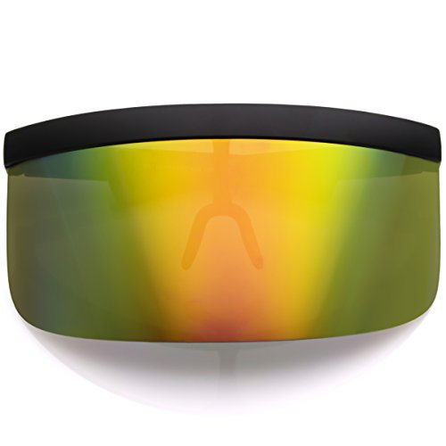 sunglassLA - Futuristic Oversize Shield Visor Sunglasses Flat Top Mirrored Mono Lens 172mm (Rainbow Mirror)