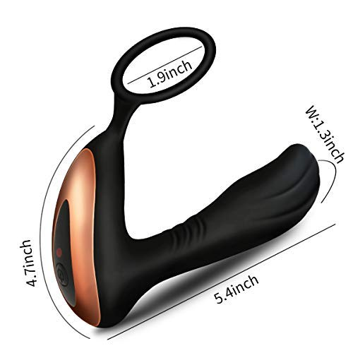 Male Prostate Massager with Penis Ring for Incredibly Powerful Orgasms, PALOQUETH Vibrating Anal Toys 7 Variable Vibration Patterns with Wireless Remote by PALOQUETH (Image #2)