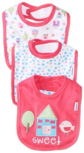 Gerber Baby-Girls Newborn 3 Pack Interlock Dribbler Bib - House, Pink, One Size