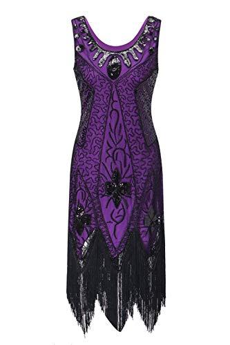 Women's Flapper Dress 1920s Beaded Sequin Fringed Great Gatsby Dress Prom (Black Purple, XL)]()