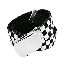 Men's Silver Slider Belt Buckle with Printed Canvas Web Belt