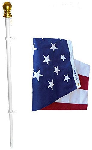 American Flag and Flagpole Set - 6 ft. 2 Section White Spinning Pole that Rotates 360 Degrees with US Flag 3x5 ft. SolarGuard Nylon by Annin Flagmakers, Estate kit Model 238