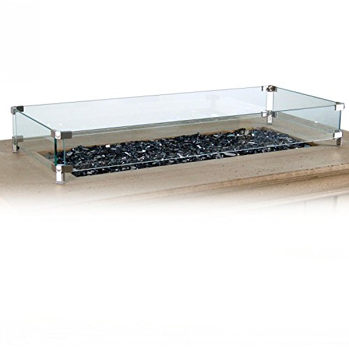 American Fyre Designs Glass Wind Guard for Rectangular Fire Tables American Fire Glass Accessory