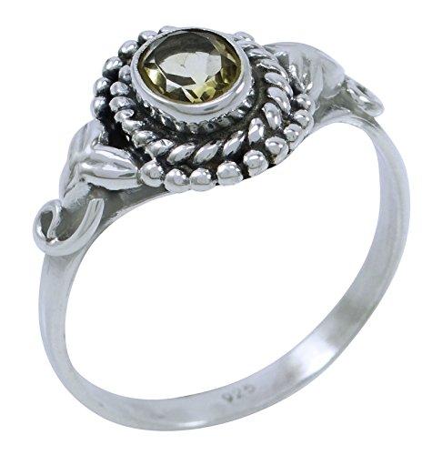 Banithani925 argent citrine pierre bande de bague cadeau de bijoux indiens pour elle