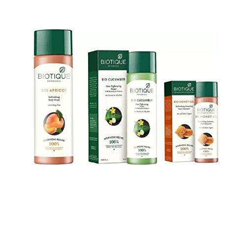 BIOTIQUE BIO Apricot Refreshing Body Wash, Cucumber Pore Tightening Toner, Honey Gel Refreshing Foaming Face cleanser (Set of ()