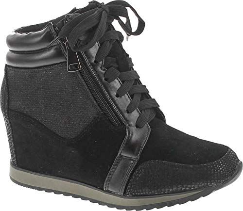 Forever Link Women's Shea-42 Fashion Wedge Sneakers,Black,8.5
