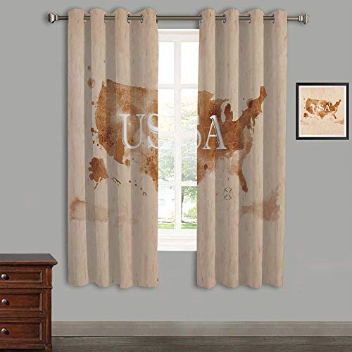 "Lovely Children Curtains Drapes,Polyester Curtains Panels,2 Panels,58"" Wx54 L,Americana,Early American Retro Map of The Country Southwest and Alaska Image Printed,Peru Brown White"