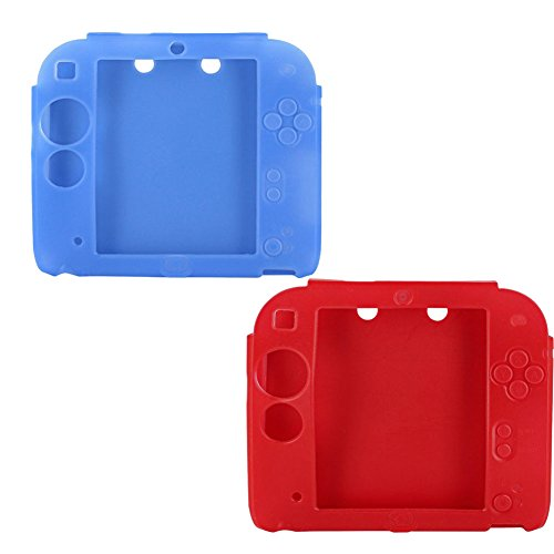 Lilyy 2Packs Protective Soft Silicone Rubber Gel Skin Case Cover for Nintendo 2DS (Blue,Red)