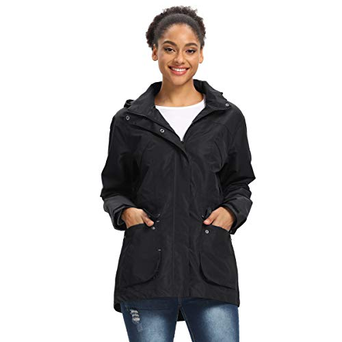 Women Running Jacket Waterproof Raincoat Lightweight Windbreaker with Hood for Outdoor Travel Hiking Cycling