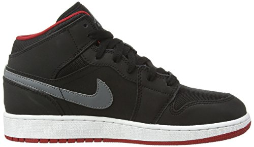 Nike Air Jordan 1 MID BG Zapatillas de deporte, Niños Negro - Schwarz (Black/Cool Grey-Gym Red 034)