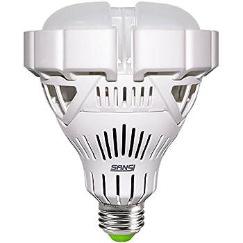 30W (250W Equivalent) BR30 LED Light Bulbs, 2800 Lumens, 3000K Warm White, CRI 80, E26 Base Floodlight Bulb for Garage Basement Warehouse Factory Church Barn Sport Hall, Non-dimmable, SANSI