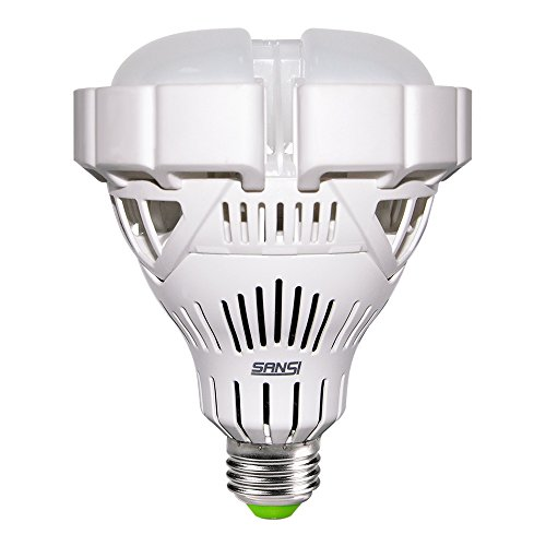 SANSI BR30 30W (250w-200w Equiv.) Ceramic LED Light Bulb-3000lm, 6500K Cool White, CRI 80, Non-dimmable, E26 Base Garage Basement Factory Warehouse Church Barn Sport Hall Security Task Lighting - Non Flip Base