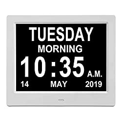 【Newest Version】 8 Digital Calendar Alarm Day Clock, with USB Charger Port, Support SD Card, Play Picture, Video, Music, Perfect for The Elderly (White)